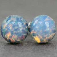 Opal Studs : Ocean View. Blue, Pink and Yellow Glass Opal Dome Stud Earrings, Sterling Silver Posts, Fake Plugs, Artisan Tree