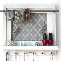 Jewelry Organizer - Jewelry Holder -Medium White Dry Brushed Barnwood Shelf Grey And White Quatrefoil