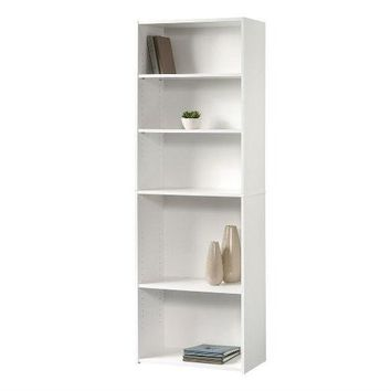 Contemporary 5-Shelf Bookcase Bookshelf in Soft White Wood Finish - Made in USA