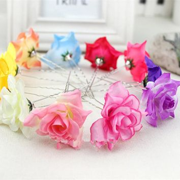 Beauty Wedding Bridal Hairpin Rose Flower Hair Pin Hair Clip Women Accessory Jewelry Free Shipping J10287