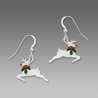 Sienna Sky Earrings - Reindeer with Holly Around Its Neck
