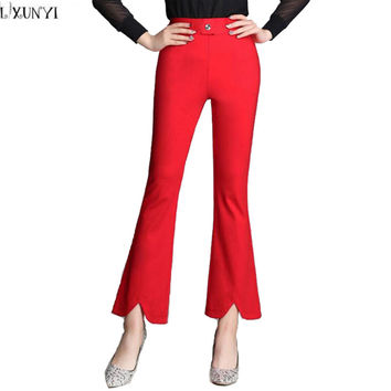 High Waist Pants Plus Size Split Slim Ankle Length Flare Pants Women Bell-Bottoms Fashion Stretch Trousers Pantalones Mujer 2017