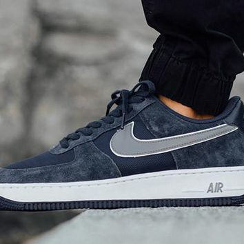 Nike Air Force 1 AF Blue For Women Men Running Sport Casual Shoes Sneakers