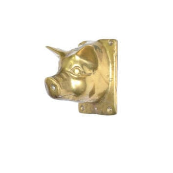 Vintage Brass Pig Hook Pig Wall Hook Pig Apron Hanger Farmhouse Decor Pig Towel Hook Pig Coat Hook