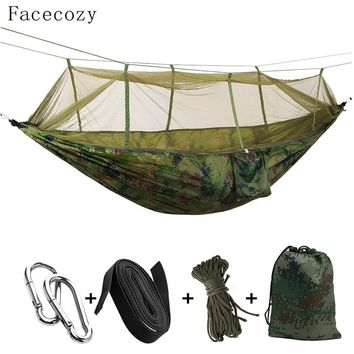 Facecozy Outdoor Parachute With Mosquito Net Hammock Tent Portable Nylon Hiking Camping Garden Travel Hunting Hanging Swing Bed