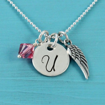 Angel wing necklace with initial letter and birthstone, Sterling silver, Swarovski crystal, hand stamped, 1/2 inch disk, Christmas birthday