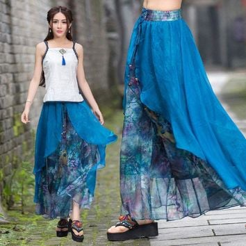 DKF4S Vintage 70s ethnic long two layers asmmetrical print wide leg pant 2017 women summer Mexico style ethnic print trousers capris