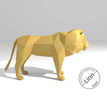 Printable DIY template (PDF).  Lion low poly paper model. 3D animal paper sculpture. Origami. Papercraft. Cardboard animal.
