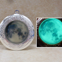 GLOW in the DARK Full MOON Silver Locket Necklace -- Green, Aqua, Blue, Yellow, White, Orange, Pink, Purple, Red -- Galaxy Space Universe