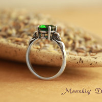Emerald Green Spinel Filigree Ring in Sterling Silver - May Birthstone, Promise Ring, Diamond Alternative