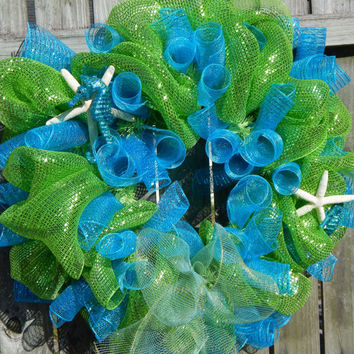 Spring Deco Mesh Beach Wreath, Spring Mesh Wreath, Starfish Wreath, Front Door Wreath, Outdoor Wreath, Spring Decor, Etsy