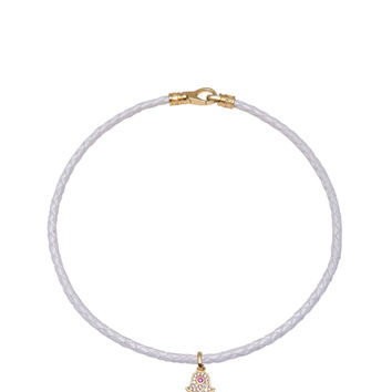 White Leather Choker with Hamsa Hand Charm