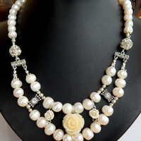 White Pearls Necklace with Rhinestone, Natural Freshwater Pearl Necklace with resin Roses, FREE SHIPPING