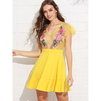 Embroidered Dot Mesh Insert Boxed Pleated Dress