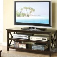 Media TV Stand X Design Sides in Cappuccino Finish [Kitchen] MPN: F4513