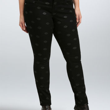 Lip Print Skinny Jean - Black Wash (Short)