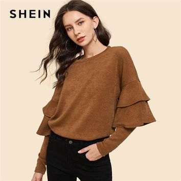 SHEIN Brown Ruffle Detail Tunic Pullovers Casual Round Neck Long Sleeve Sweatshirt Women Plain Minimalist Sweatshirts