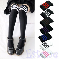 Women Sexy Fashion Stripe Cotton Over Knee Socks Thigh High Stockings Long Socks