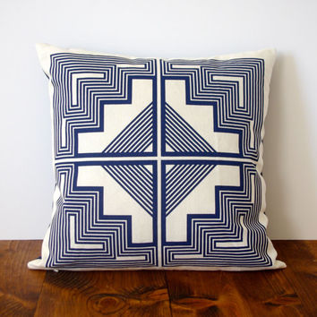 Native Quilt Pillow - Navy Blue / indigo / screen printed organic cotton