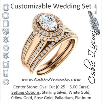 CZ Wedding Set, featuring The Deena engagement ring (Customizable Halo-style Oval Cut with Under-halo & Ultrawide Band)