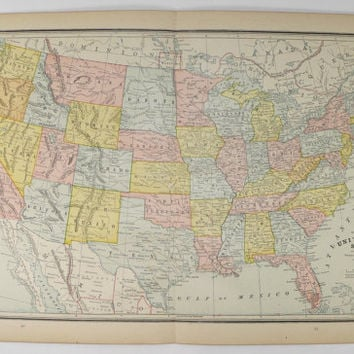 1888 United States Map, Antique Map of United States, Vintage USA Map, US History Buff Gift Map, US Vintage Office Decor Gift for Coworker