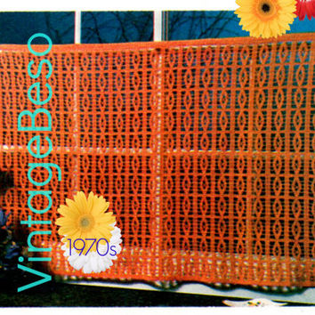 Curtain Crochet Pattern Vintage 1970s CURTAIN Livingroom Bedroom Kitchen Bathroom Retro Privacy Curtain Instant Download PdF Pattern