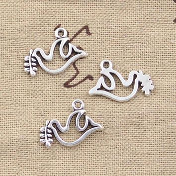 DCCKFV3 99Cents 15pcs Charms peace dove olive 20*13mm Antique Making pendant fit,Vintage Tibetan Silver,DIY bracelet necklace