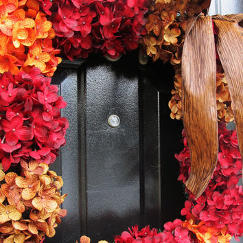 Hydrangea Wreath - Fall Square Wreath - Holiday Wreath - Square Decor -Fall Door Decor - Red Hydrangea