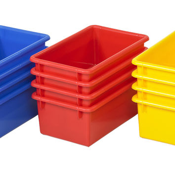 Kids Plastic Stackable Toys Storage Set Organizer Tub Bin with No Lid 1 - 5 Pack Assorted