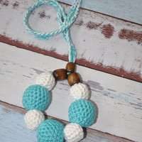 RESERVED for ERINSHERMAN Nursing/Teething Necklace and Teething Ring- Aqua and White- Eco Baby Teething- Eco Mom Jewelry