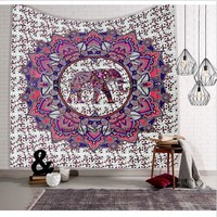 Indian Mandala Tapestry Hippie Wall Hanging Blue Bohemian Bedspread Dorm Decor Home Textile