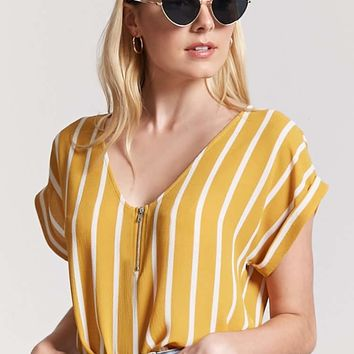 Stripe Zip-Front Top
