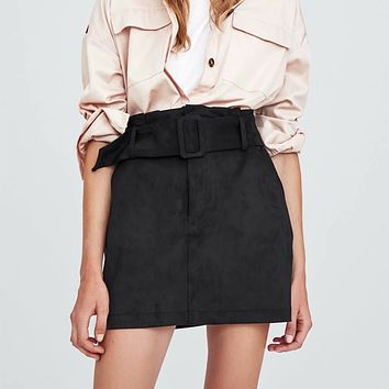 Women Fashion Simple Solid Color Suede High Waist Waistband Short Skirt