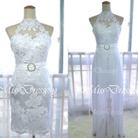 Two Pieces High Neck Mini Short Lace and Chiffon White Wedding Dresses,Prom Dresses, Cocktail Dresses, Formal Gown, Bridesmaid Dresses