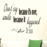 Wall Vinyl Decal Quote Sticker Home Decor Art Mural Don't cry because it's over, smile because it happened Dr. Seuss Z33