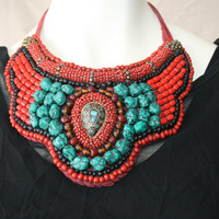 turquoise /red/black/Turquoise , Bone Beaded Necklace Chunky Tribal Statement Boho Hippie Mother's Day 2013
