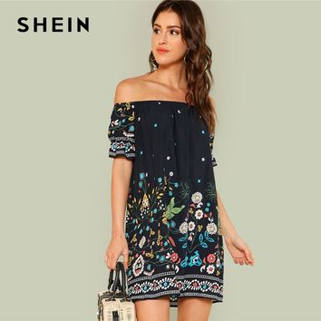 SHEIN Floral Beach Boho Bohemian Vacation Tribal Print Off the Shoulder Bardot Summer Half Sleeve Ruffle Dresses Women Dress