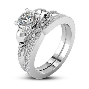 Museum 2CT Round Cut Russian Lab Diamond Bridal Set Wedding Band Ring