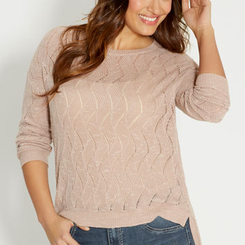 plus size wavy stitched sweater with extreme high-low hem | maurices