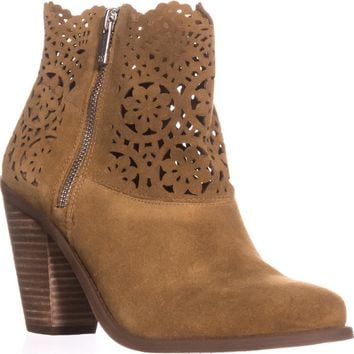 Jessica Simpson Cachelle Cutout Ankle Booties, Honey Brown, 8.5 US / 38.5 EU