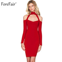 ForeFair 2016 autumn winter sexy off shoulder party dresses pencil bodycon halter elegant women dress black white red