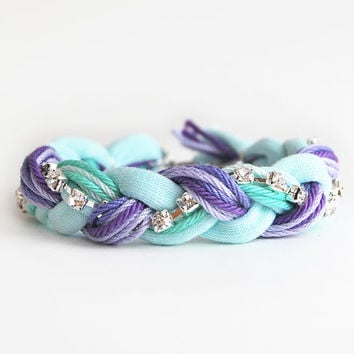 Friendship bracelet, lilac and mint bracelet with rhinestone chain, purple and mint braided bracelet