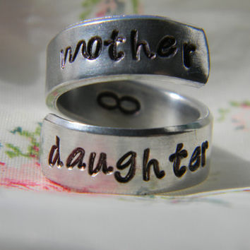 mother daughter forever aluminum wrapped style  ring 1/4 inch
