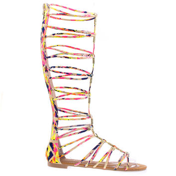 Magical13S Pink Multi by Bamboo Multi Gladiator Flat Open Toe Strappy Sandal, Roman / Greek Goddess Shoes.