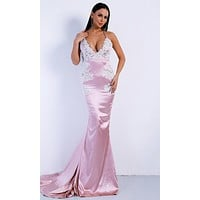 Seventh Heaven Pink Satin Lace Trim Sleeveless Spaghetti Strap Plunge V Neck Fit and Flare Maxi Dress
