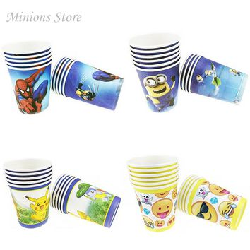 10pcs/lot Emoji Spiderman Minions Cartoon Disposable Cups Pokemon Pikachu Theme Birthday Party Supplies New Year Decoration