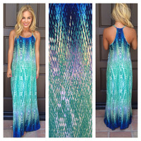 Watercolor Maxi Dress - BLUE