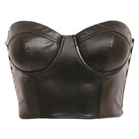 Pilot Gisselle Faux Leather Bralet Top in Black
