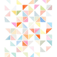 Handmade Watercolor Archival Print-  Multi Triangles I Light Orange and Blue