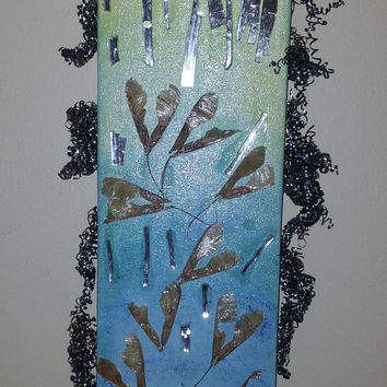 A Damp Fall Day - original collage mixed media art piece, mosaic, mirror art, mirrored glass decoupage, artwork